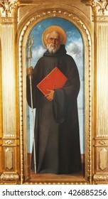 ZAGREB, CROATIA - DECEMBER 12: Giovanni Bellini: Saint Augustine, exhibited at the Great Masters Renaissance in Croatia, opened December 12, 2011. in Zagreb, Croatia