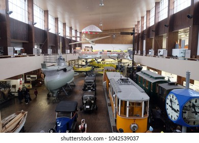 ZAGREB, CROATIA - DECEMBER 17, 2016: The Nikola Tesla Technical Museum, located at 18 Savska Street in Zagreb and it exhibits  historic aircraft, cars, machinery and equipment in Zagreb, Croatia.