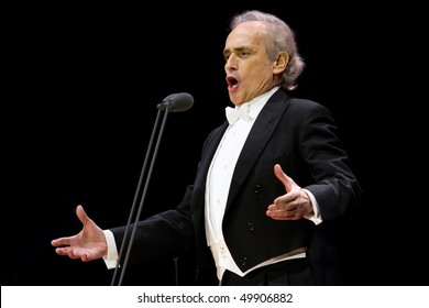 "ZAGREB, CROATIA - DECEMBER 19: Famous opera singer jose Carreras singing at concert ""Jose Carreras and guests"" December 19, 2009 Zagreb, Croatia"
