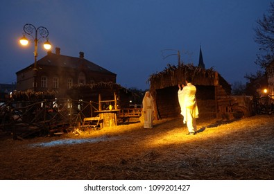 ZAGREB, CROATIA - DECEMBER 20, 2016: The religious spirit in the Advent in Zagreb especially can feel the front of the Cathedral, where Community Cenacolo organizes live Christmas nativity scene.