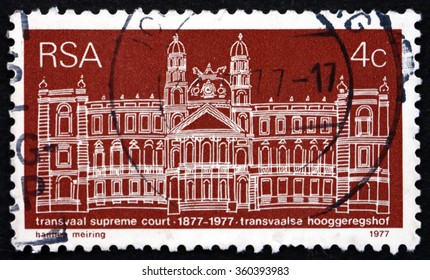 ZAGREB, CROATIA - DECEMBER, 2015: a stamp printed in South Africa shows Transwaal Supreme Court, Centenary, circa 1968
