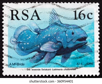 ZAGREB, CROATIA - DECEMBER, 2015: a stamp printed in South Africa shows African Coelacanth, Latimeria Chalumnae, Fish, Living Fossil, circa 1989