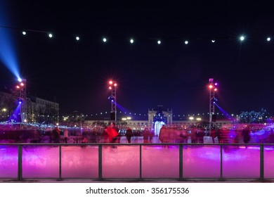 ZAGREB, CROATIA - DECEMBER 24, 2015: Ice skate rink at King Tomislav square as part of Christmas Market which won the title The best European Christmas Market.