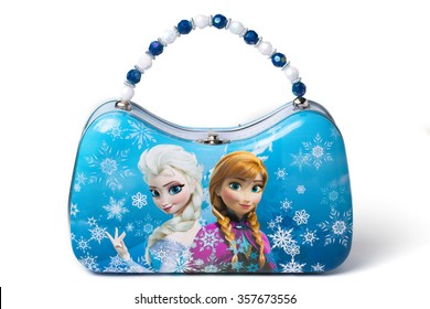 ZAGREB, CROATIA - DECEMBER 26, 2015: Small metal case with Elsa and Anna, Disney's Frozen characters.
