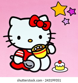 ZAGREB , CROATIA - DECEMBER 27. 2012 :  Hello kitty children cartoon character printed on box ,product shot