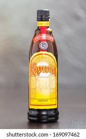 ZAGREB, CROATIA - DECEMBER 27, 2013: Kahlua, a dark brown coffee flavored and rum based liqueur that also contains sugar, corn syrup and vanilla bean. Its production started in 1936 by Pedro Domecq.