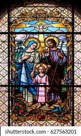 ZAGREB, CROATIA - DECEMBER 28: Holy Family, stained glass window in the Parish Church of the Visitation of the Virgin Mary in Zagreb, Croatia on December 28, 2015.