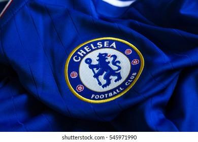 ZAGREB, CROATIA - DECEMBER 31, 2016. - English football club Chelsea emblem on blue jersey.