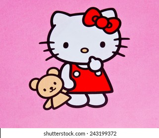 ZAGREB , CROATIA - DECEMBER 3rd , 2014 :  Hello kitty children cartoon character printed on card ,product shot