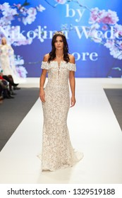 ZAGREB, CROATIA - FEBRUARY 02, 2019: Fashion model wearing beautiful wedding dress, on the catwalk of the Wedding fair