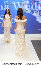 ZAGREB, CROATIA - FEBRUARY 02, 2019: Fashion models wearing beautiful wedding dresses, on the catwalk of the Wedding fair