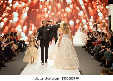 ZAGREB, CROATIA - FEBRUARY 02, 2019: Fashion models walking the defile at the Wedding fair show