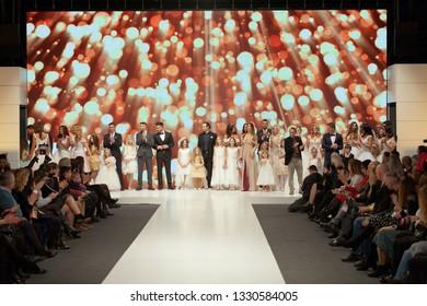ZAGREB, CROATIA - FEBRUARY 02, 2019: Fashion models at the defile of the Wedding fair show