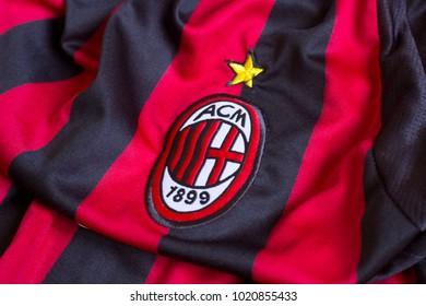 ZAGREB, CROATIA - FEBRUARY 09, 2018. - Italian football club AC Milan emblem on jersey.