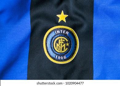 ZAGREB, CROATIA - FEBRUARY 09, 2018. - Italian football club F.C. Internazionale Milano emblem on jersey.