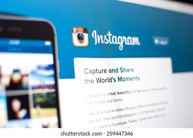 Zagreb, Croatia - February 1, 2015: Instagram homepage on a monitor screen. Instagram is a photo-sharing social network.
