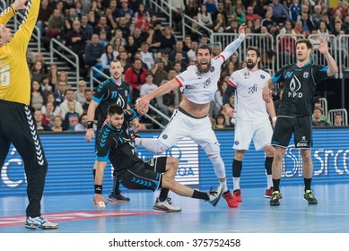 ZAGREB, CROATIA - FEBRUARY 10, 2016- EHF CHAMPIONS LEAGUE -PPD Zagreb VS Paris Saint Germain. Luka Karabatic (22) vs Tin Kontrec (9).