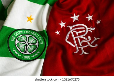 ZAGREB, CROATIA - FEBRUARY 10, 2018. - Scottish football clubs Glasgow Rangers and Glasgow Celtic jerseys together.
