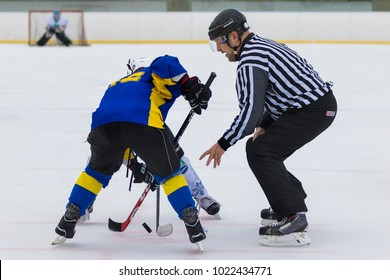 ZAGREB, CROATIA - FEBRUARY 10, 2018: DBEL womans ice hockey Salata winter classic match between KHL Gric Zagreb and MAC Marilyn Budapest. Woman ice hockey players in face of