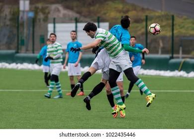 ZAGREB, CROATIA - FEBRUARY 10, 2018: Third Croatian football league NK Maksimir vs. NK Vinogradar. Players in action