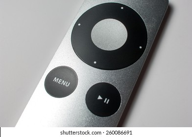 ZAGREB, CROATIA - February 13, 2015: The second generation Apple Remote on white background.