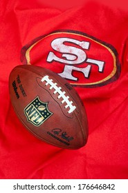 ZAGREB , CROATIA - FEBRUARY 14, 2014 :  NFL San Francisco 49ers club equipment with NFL official ball, product shot