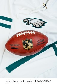 ZAGREB , CROATIA - FEBRUARY 14, 2014 :  NFL Philadelphia Eagles club equipment with NFL official ball, product shot