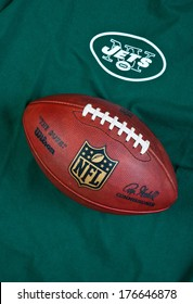 ZAGREB , CROATIA - FEBRUARY 14, 2014 :  NFL New York Jets club equipment with NFL official ball, product shot
