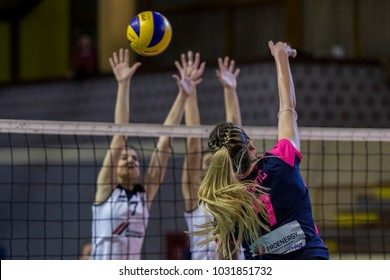 ZAGREB, CROATIA - FEBRUARY 14, 2018: Croatian Volleyball woman's Cup. Match between HAOK Mladost Proenergy and Kastela Cemex. Players in action