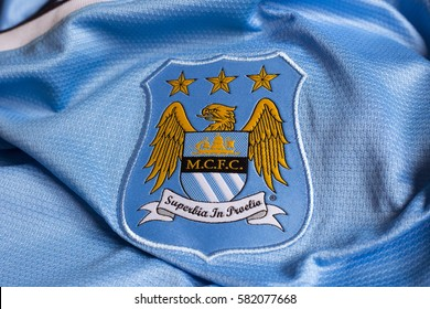 ZAGREB, CROATIA - FEBRUARY 18, 2017. - English football club Manchester City emblem on football jersey.