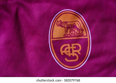 ZAGREB, CROATIA - FEBRUARY 18, 2017. - Italian football club AS Roma emblem on football jersey.
