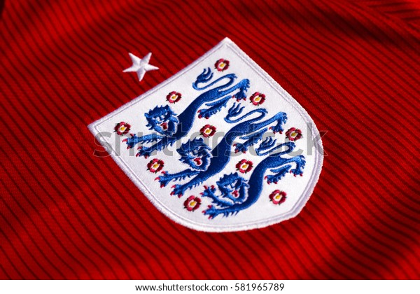ZAGREB, CROATIA - FEBRUARY 18, 2017. - Three lions, emblem on English national football team jersey.