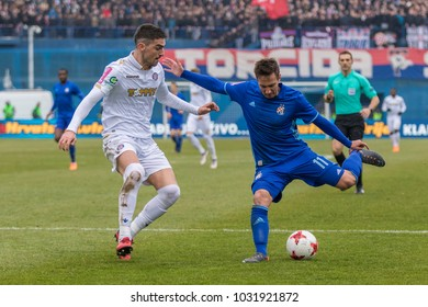 ZAGREB, CROATIA - February 18, 2018: Croatian First Football League game between GNK Dinamo VS HNK Hajduk. Players in action
