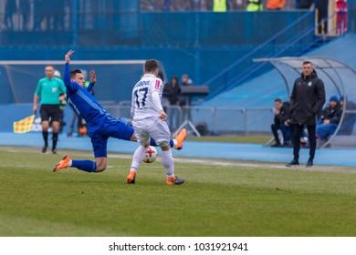 ZAGREB, CROATIA - February 18, 2018: Croatian First Football League game between GNK Dinamo VS HNK Hajduk. In action Nikola MORO (27)