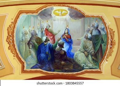 ZAGREB, CROATIA - FEBRUARY 19, 2011: Descent of the Holy Spirit, Pentecost, fresco in the Church of the Assumption in Stenjevec, Zagreb, Croatia