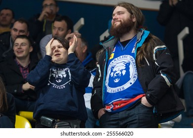 ZAGREB, CROATIA - FEBRUARY 20, 2015: KHL league - Medvescak Zagreb VS Dinamo Riga. Medvescak supporters on stand.