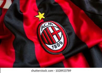 ZAGREB, CROATIA - FEBRUARY 20, 2018. - Italian football club AC Milan emblem on jersey.