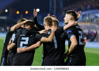 ZAGREB, CROATIA – FEBRUARY 21, 2019: UEFA Europa League 2018/2019, Round of 32, 2nd leg. GNK Dinamo Zagreb VS Viktoria Plzen. Dinamo players celebrating goal