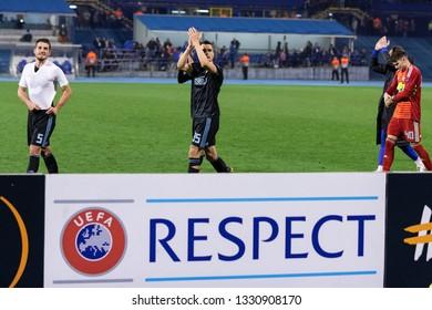 ZAGREB, CROATIA – FEBRUARY 21, 2019: UEFA Europa League 2018/2019, Round of 32, 2nd leg. GNK Dinamo Zagreb VS Viktoria Plzen. Dinamo players celebrating historic victory.