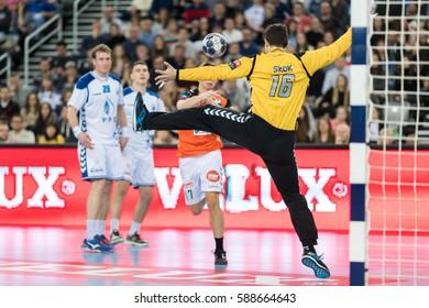 ZAGREB, CROATIA - FEBRUARY 25, 2017: EHF Men's Champions League 2016-17, Group (B) phase. HC Zagreb PPD VS HC Kristianstad. Matevz SKOK (16)