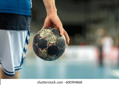 ZAGREB, CROATIA - FEBRUARY 25, 2017: EHF Champions League PPD Zagreb VS IFK Kristianstad. Ball in hand of the handball player