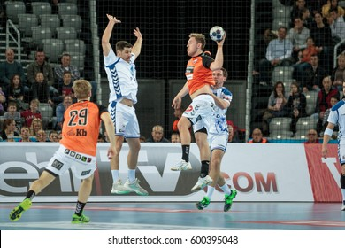 ZAGREB, CROATIA - FEBRUARY 25, 2017: EHF Champions League PPD Zagreb VS IFK Kristianstad. Players in the air