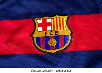 ZAGREB, CROATIA - FEBRUARY 26, 2018. - Spanish football club Barcelona emblem on jersey.