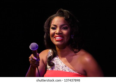 ZAGREB, CROATIA - FEBRUARY 27: On the occasion of the month of Afro-American history, Mary Millben held a concert in the VIP Club on February 27, 2013 in Zagreb, Croatia.