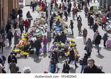 ZAGREB, CROATIA - FEBRUARY 28, 2017: Splavnica, famous flower market placed in  between Ban Jelacic Square and Dolac market.