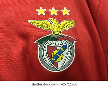ZAGREB, CROATIA - JANUARY 03, 2018. - Portuguese football club Benfica Lisbon emblem on jersey.