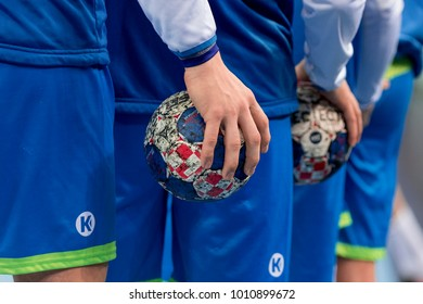 ZAGREB, CROATIA - JANUARY 13, 2018: European Championships in Men's Handball, EHF EURO 2018 Group C match Macedonia vs. Slovenia 25:24. Players holding the handball balls