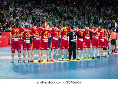ZAGREB, CROATIA - JANUARY 13, 2018: EHF EURO Croatia 2018, Group (C) phase. Macedonia VS Slovenia. Macedonian players during national anthems.