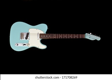 ZAGREB , CROATIA - JANUARY 14 ,2014 : fender telecaster blue electric guitar on black background , product shot