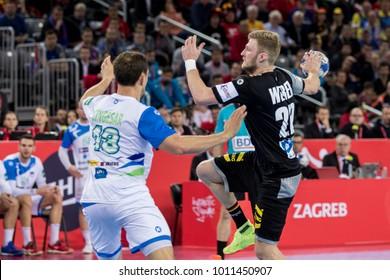 ZAGREB, CROATIA - JANUARY 15, 2018: European Championships in Men's Handball, EHF EURO 2018 main round match Slovenia vs. Germany 25:25. In action Philipp WEBER (20)